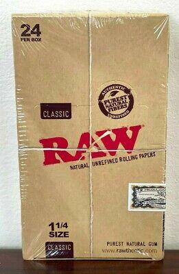 Raw 1.25 (1 1/4) Classic Hemp Rolling Paper Full Box 24 pk~Factory Sealed