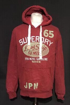 Superdry Men's Casual Red Vintage Hoodie Jumper Large Cotton Blend