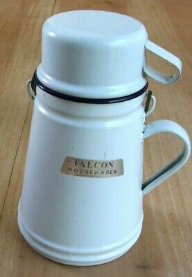 Vintage White Enamel Traditional Billy Can with Cup Lid – Kitchenalia