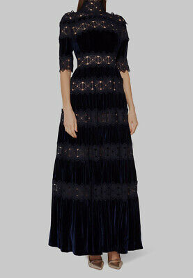 New $2795 Costarellos Women's Black Mockneck Tiered Crochet Velvet Dress Size 2