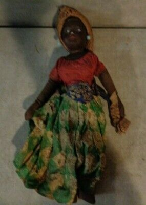 ANTIQUE 13' AFRICAN AMERICAN WOMAN DOLL HAND PAINTED *****