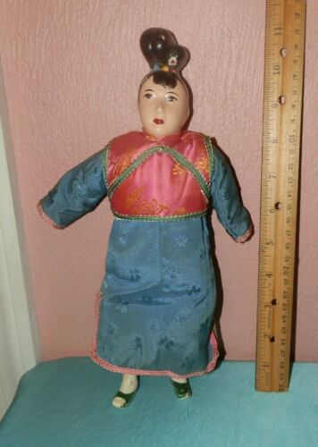 "Vintage 11"" Chinese Asian Oriental Composition Doll - Sawdust filled Cloth body"