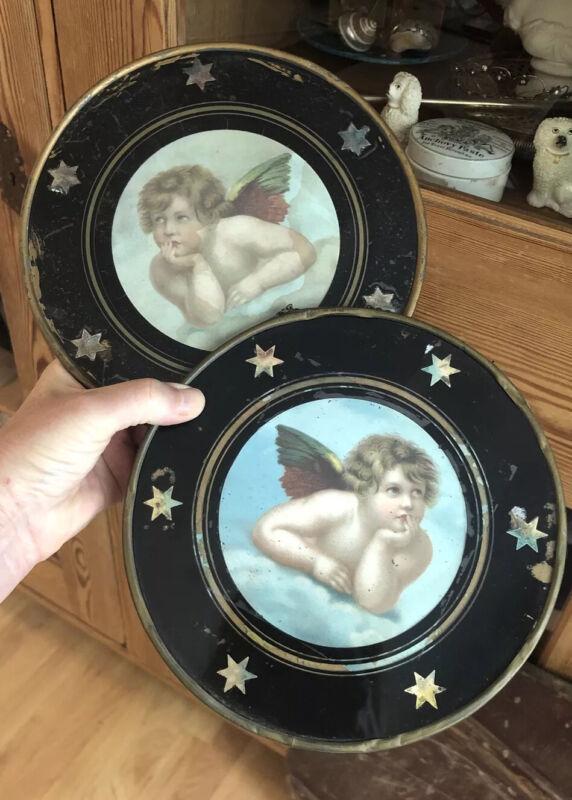 Pair Victorian Flue Covers Cherub Raphael Glass Stars Reverse Painted