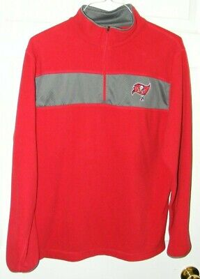 Tampa Bay Buccaneers Men Red Fleece Mesh NFL Brand Long Sleeve Pullover Size XL Fleece-mesh Pullover