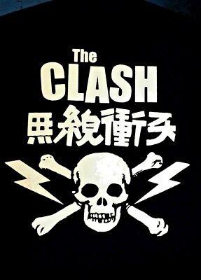 The Clash Vintage Japanese Skull & Crossbones Black T-Shirt *Brand New* - Skull Crossbones