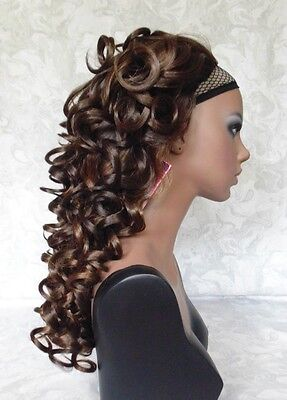 Long 3 4 Reversible Fall Dark Brown Curly Heat Resistant Synthetic Wigs  F6