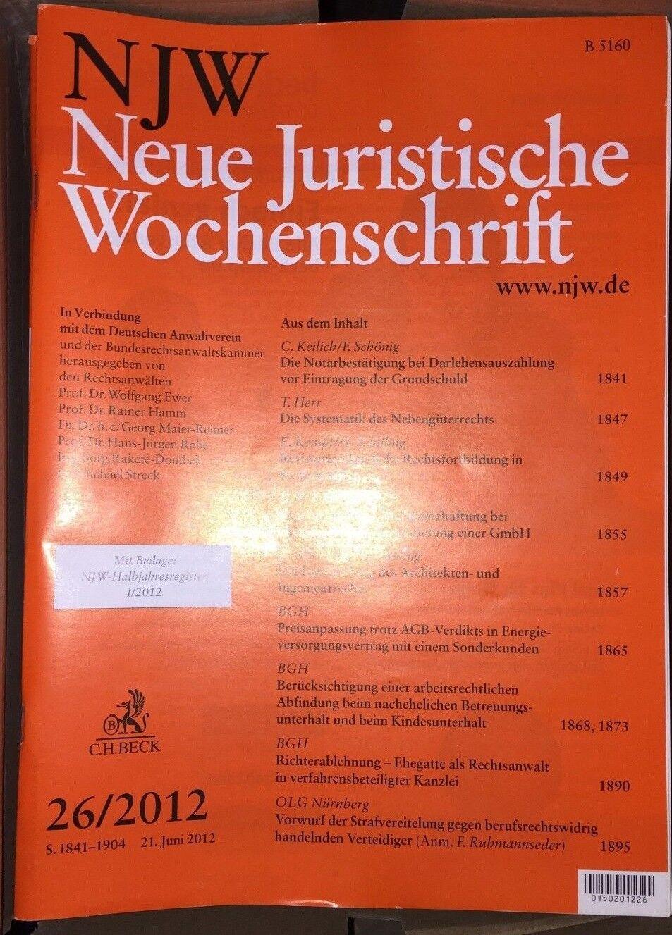 NJW Neue Juristische Wochenschrift Zeitschrift 2012 Halbjahr II +  Einbanddecke
