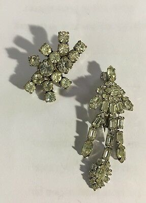 Vintage Rhinestone Silver Tone Brooch Pin Jewelry #-7