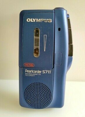 Olympus Pearlcorder S711 Handheld Voice Micro Cassette Blue Tested