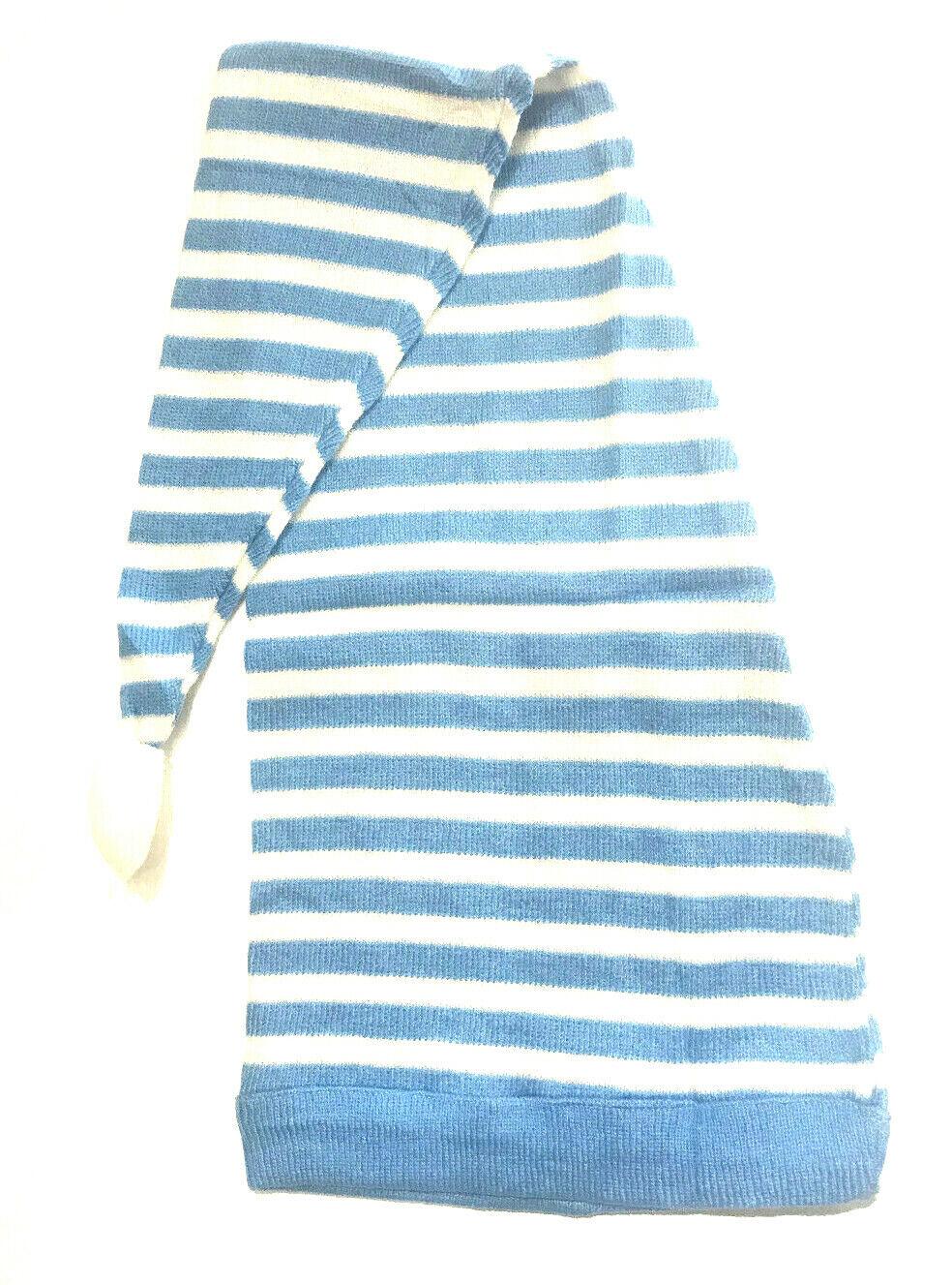 Zipfelmütze Blau Weiß Mütze Schlafmütze Weihnachten Weihnachtsmütze Bommel #029