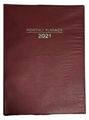 "2021 Planner-Red, Monthly Format, 10"" x 7.5"", Lay Flat Spin"