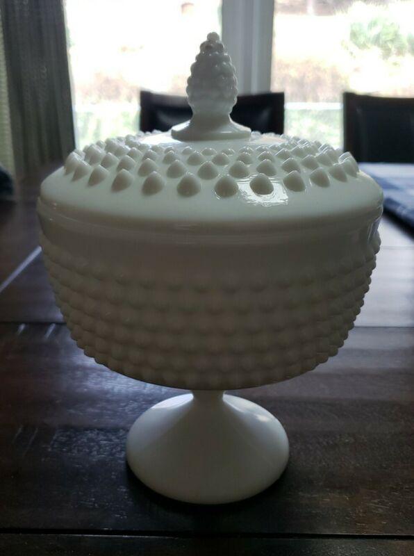 Vintage Large Hobnail Lidded White Milk Glass Candy/Trinket Dish
