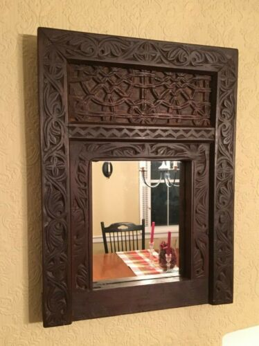 Beautiful Vintage Hand Carved Wood Mirror - Deep Carvings - Excellent Condition!