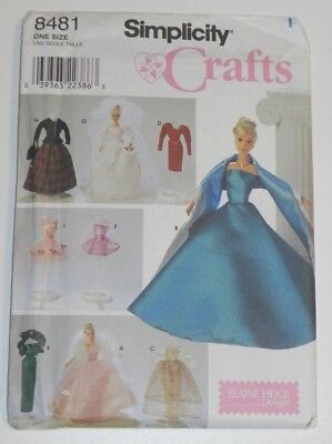Simplicity Clothes to fit Barbie Doll Sewing Pattern 8481 Uncut Elaine Heigl](Adult Barbie Doll Costume)