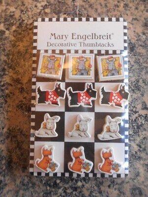 Mary Engelbreit Set of 12 Decorative Thumbtacks dogs puppies - Mary Engelbreit Puppy