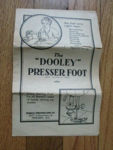 Antique Vintage 1929 The Dooley Presser Foot Sewing Manual Original Booklet