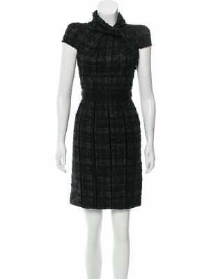 Prada Tweed Pattern Mini Black Dress XS 38
