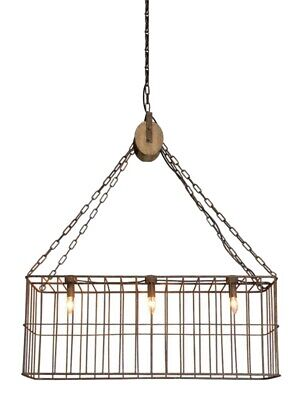 Country Chandelier Wooden Pulley Farm Style Iron Basket 3 Lights Old Fashioned 3 Light Old Iron