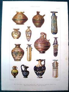 Stampa antica vasi brocche cipro rodi grecia greece 1920 for Vasi antichi romani
