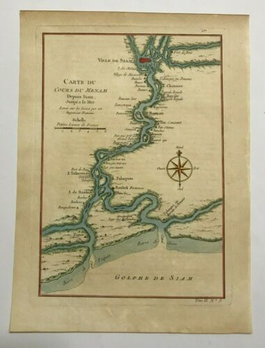 SIAM MENAM RIVER BANGKOK 1750 NICOLAS BELLIN NICE ANTIQUE MAP 18TH CENTURY