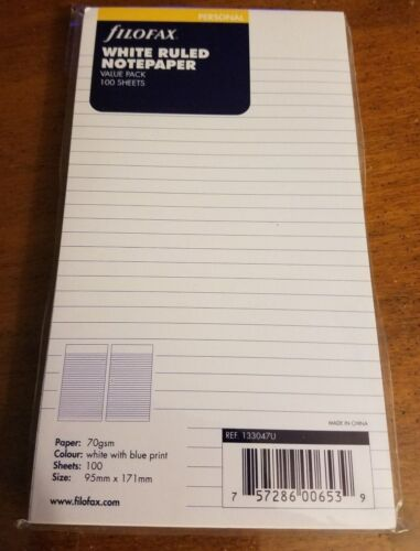 Filofax White Ruled Notepaper- Personal Size -  100 sheets - 133047