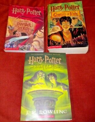 3 Harry Potter paperback Books - Chamber secrets Goblet fire Half Blooded Prince