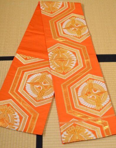 Silk Fukuro Obi Belt Crane 416cm for Furisode kimono Women Japanese vintage /472