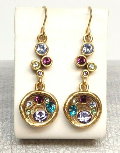 Gorgeous Patricia Locke Earrings Gold Plate Water Lily Swarovski Crystals NWOT