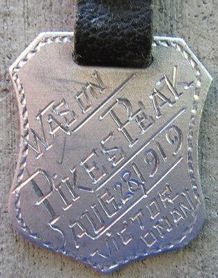Antique 1919 PIKES PEAK Colorado Watch Fob Rare Engraved Original Souvenir