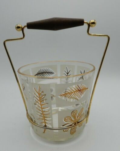 Vintage Glass 1950s Style Mid Century Ice Bucket With Wood Metal Stand MCM