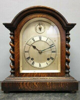 Antique Oak Cased 8 Day Dome Top Mantel Clock