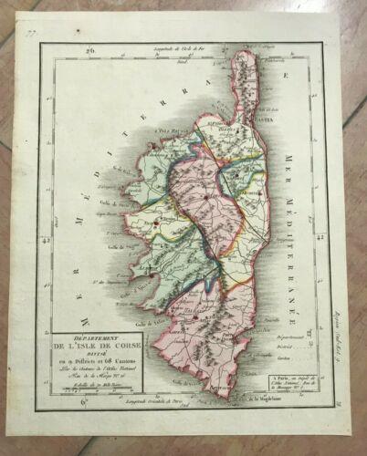 DEPARTEMENT OF CORSICA FRANCE 1793 by DUMEZ UNUSUAL ANTIQUE MAP 18TH CENTURY