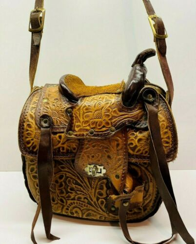 Vintage Tooled Leather & Sheepskin Horse Saddle Purse-Made in Mexico
