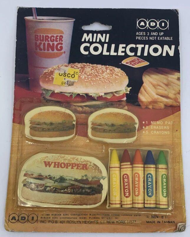 Vintage 1982 Burger King Mini Collection Promo 1 memo Pad, 2 Erasers,& 5 Crayons