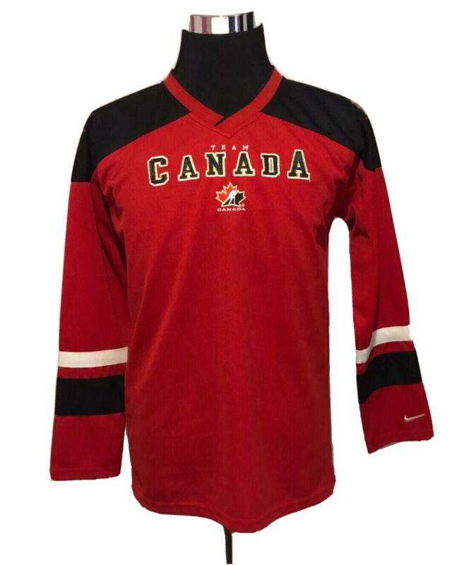 Nike Team Canada Boys Hockey Jersey Red Black Size Youth XL/18 (D1)