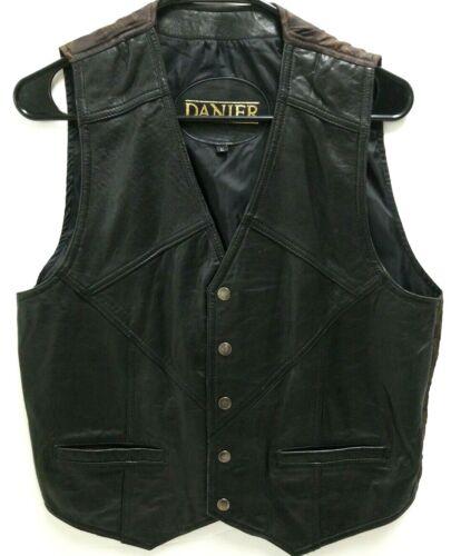 Danier Mens Sz L Black Leather Vest Snap-Up Front Lined