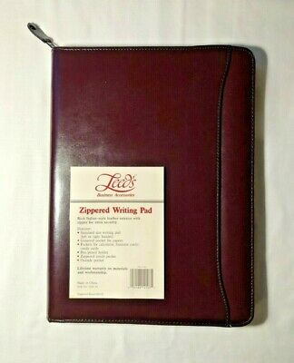 Office - Leeds Burgandy Business Zippered Writing Pad Portfolio Organizer