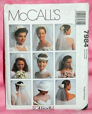 Uncut McCall Alicyn Exclusives Bridal Wedding Veils Headpiece Hat Pattern 7984