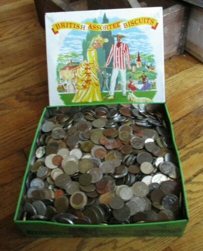 Lot of 20 Pounds of World Coins in Vintage Biscuit Tin-Free Shipping