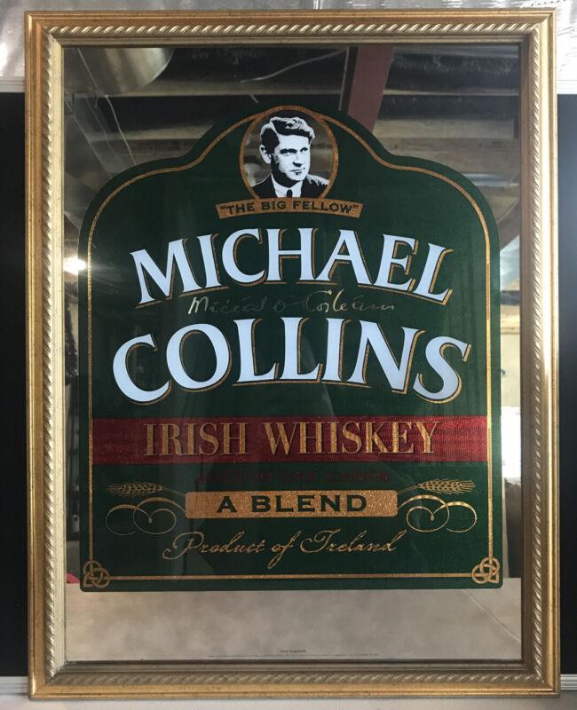 Michael Collins Irish Whiskey Mirror Bar Decor Hanging Framed Picture ~26.5x20.5