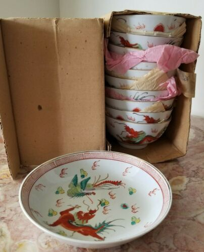 Lot of 11 Vintage Chinese Red Dragon Porcelain 10 Rice/Soup & 1 Dipping Bowl