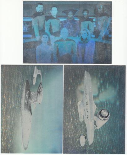 Lot of 3 Star Trek Lasergram Postcards - NCC-1701, NCC-1701D, TNG Bridge Crew