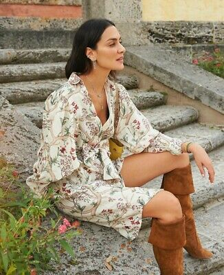 Johanna Ortiz X H&M Linen Dress White Orchids Large (16/18) SOLD OUT BLOGGERS