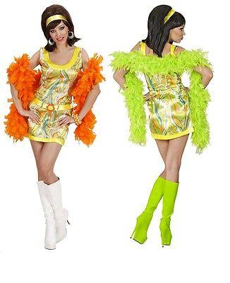 70er 80er Jahre Retro Damen Hippie Kostüm Mottoparty Minikleid Flower grün Gr. M