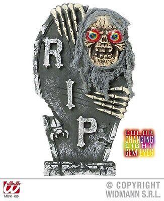 Grabstein RIP 58 x 34 cm Zombie LED Totenkopf Halloween Dekoration Grab