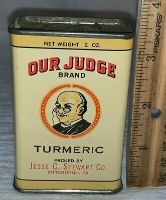 ANTIQUE OUR JUDGE TURMERIC SPICE TIN LITHO CAN PITTBURGH PA COUNTRY STORE GROCER