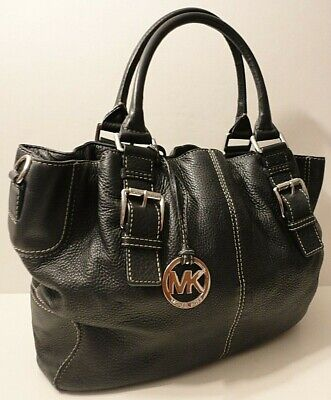 Michael Kors Black Genuine Leather Tote Office Shoulder Bag Purse MK Tag Charm