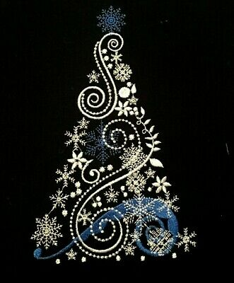 Christmas Tree Snowflake Blue Ribbon EMBROIDERED QUILT BLOCK ()
