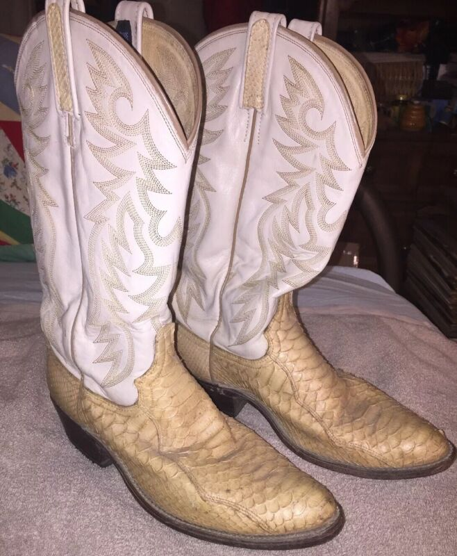 VINTAGE, DAN, POST, MENS, 9, 1/2, D, SNAKE, SKIN, CREAM, LEATHER, WESTERN, COWBOY, BOOTS