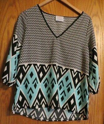 Coveted Clothing Women's Large 3/4 sleeve blouse shirt aqua blue cream black Blue Cream Clothing